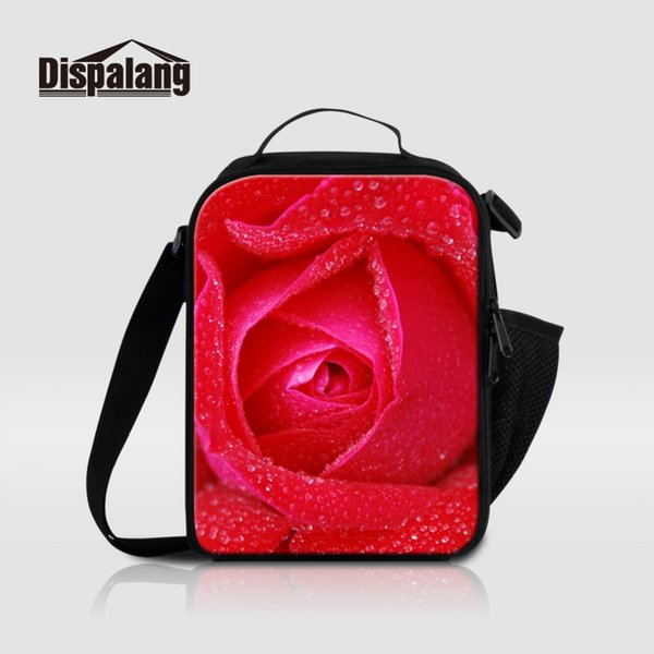 Dispalang Red Rose Flower Lunch Bags For Women Portable Cooler Bag For Work Office Girls Small Canvas Lunch Box School