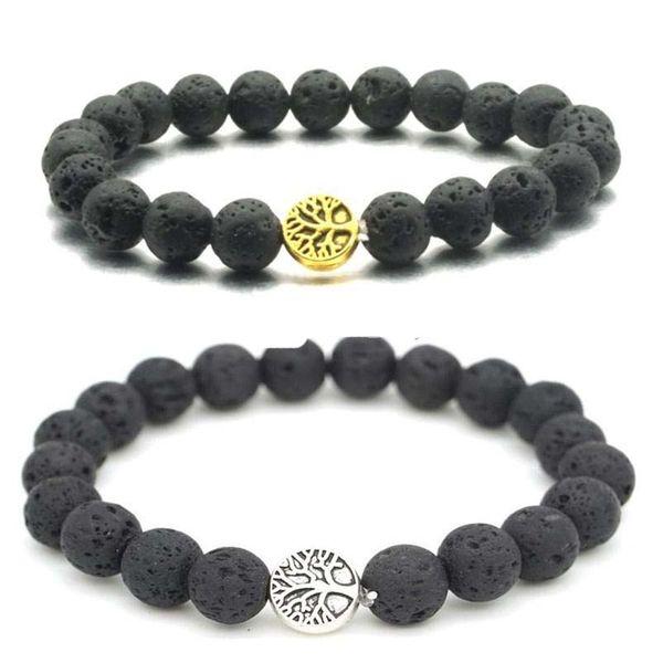 Gold Silver Tree of life Charms 8mm Black Lava Stone Beaded Bracelet Essential Oil Diffuser Bracelet Volcanic Rock Hand Strings