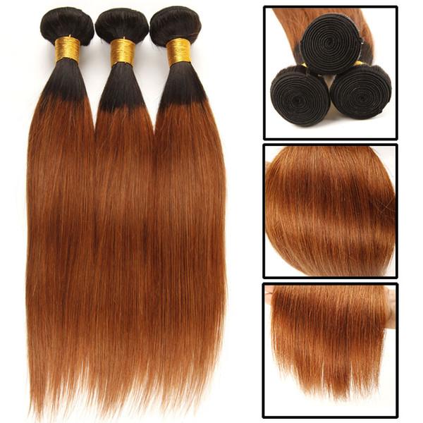 Großhandel Ombre Peruanisches Glattes Haar 1b Rot Grün Blau Braun Farbe Menschliches Haar Bundles 3 Stücke Kann 3 Bundles Ombre Menschliches