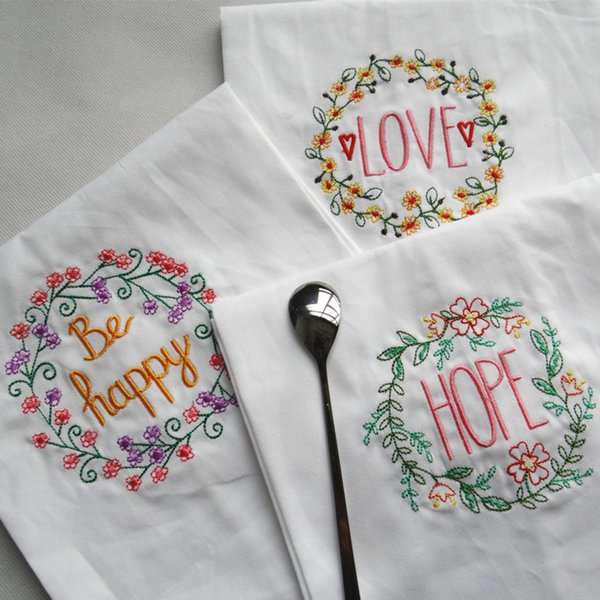 Wholesale multi-purpose hanging wiping towel Kitchen use embroidered cloth napkins water absorption non shed hair #441