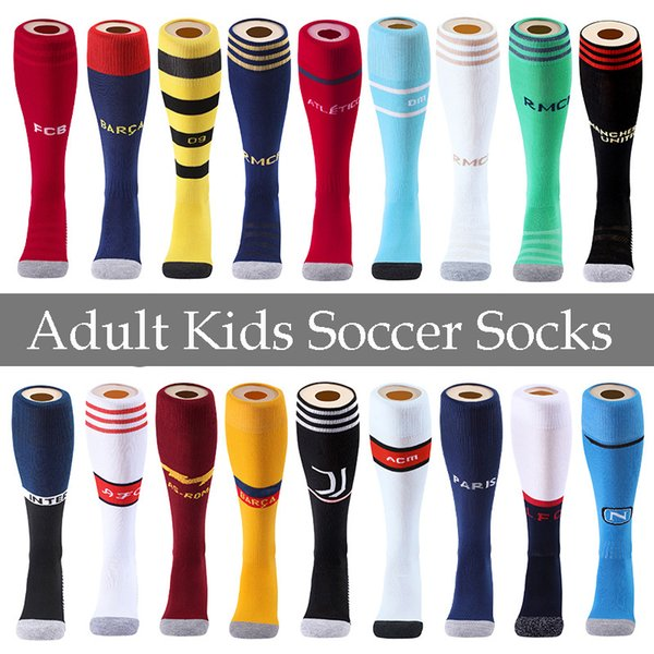 19 20 Real Madrid Kids Adult Sport Soccer Socks AJAX Men's Knee High Cotton Stock 19 20 Thicken Towel Bottom Long Hoses Stockings M625F