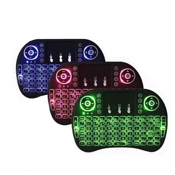 I8 mini clavier 2.4g touchpad portable batterie au lithium rechargeable sans fil fly air mouse télécommande 3 rétro-éclairage 7 couleurs rétro-éclairé