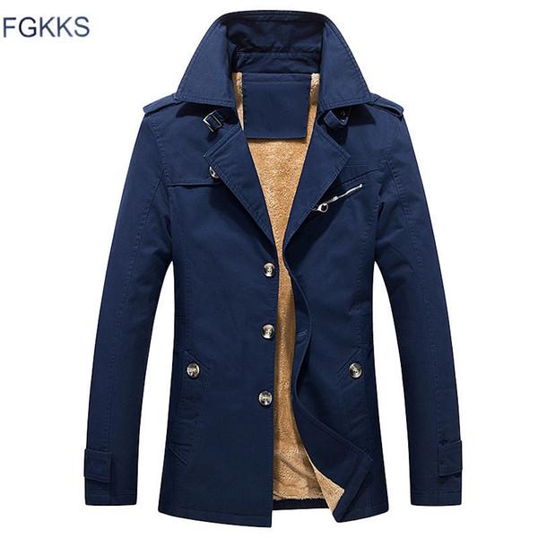 Fgkks New Winter Men Brand Bomber Male Fashion Jacket Coat Casual Blue Jackets Mens Coats C190416