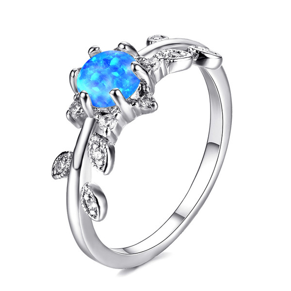5 Pcs 1 lot Mother Gift Full Blue Fire Opal Gems 925 Sterling Silver Ring Russia American Weddings Ring Jewelry Gift NEW