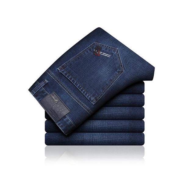 Marca 2019 Nuevo Denim Slim Plaid Pantalones Lápiz Pantalones Vaqueros de longitud completa Hombres Smart Punk Style Jeans de moda
