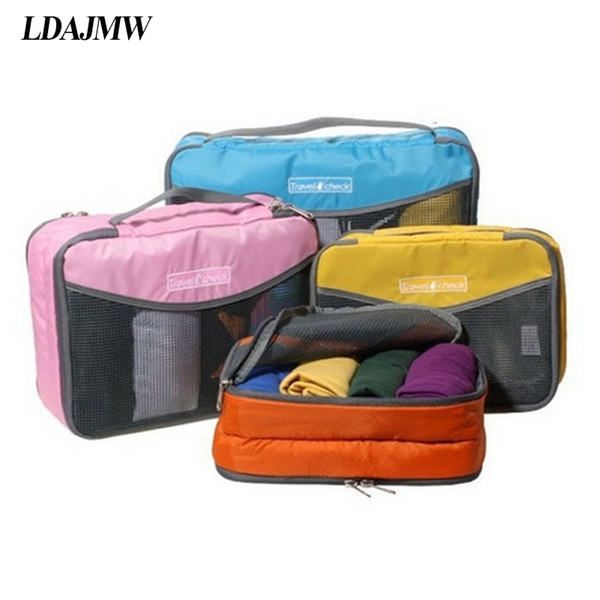 LDAJMW Nylon Waterproof Material Mesh Travel Luggage Packing Mesh Bags Clothes Toiletry Kit Organizer Zipper Hand Storage Pouch
