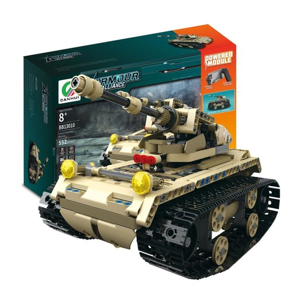 wholesale Electric Tank 2.4G 4H USB Charging Building Block Simulated Light Track Tank 552pcs RC Toys Model for Children