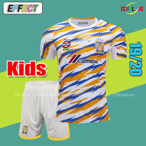 Kids Jersey 2019 NAUL Tigrs Third Kids Soccer Jerseys LIGA MX 10# GIGNAC Youth Boys Set With Short Camiseta de Futbol Shirts