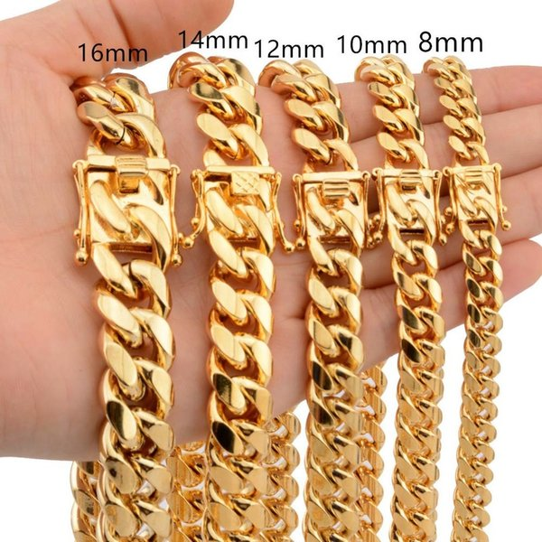 News Arrival 8/10/12/14/16/18mm Stainless Steel Miami Curb Cuban Chain Necklaces Casting Dragon Lock Clasp Mens Rock Dj Jewelry J190711