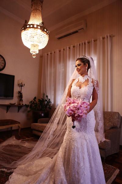 Vestido de novia de sirena Cuello alto Hueco Volver Sin mangas Barrido del tren Perlas de encaje 2019 Vestido de novia Vestidos de novia de novia Vestido para novia