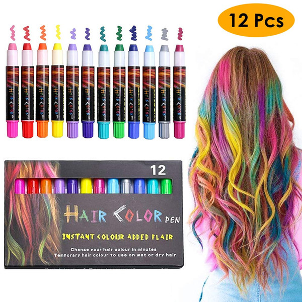 Temporary Hair Chalk Pens Crayon Salon Washable Hair Color Safe For Makeup  Birthday Party Christmas Gift For Girls Kid Professional Hair Color ...