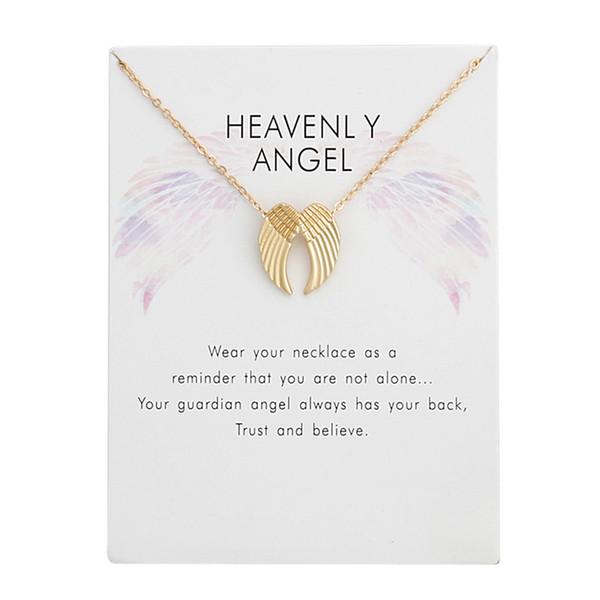 Engelsflügel Charme Halsketten Mit Karte Gold Silber Farben Legierung Anhänger Mit 20 Zoll Kette Mode Halskette Schmuck