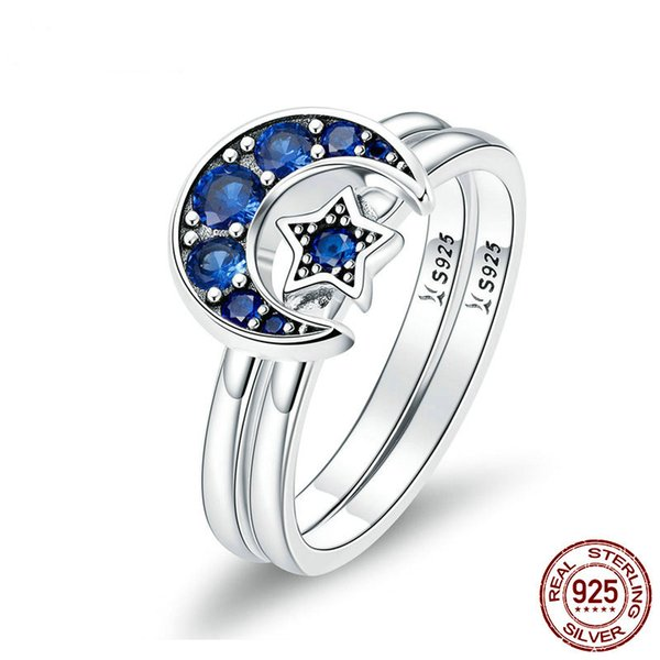 MissDu Autêntico 925 Prata Esterlina Blooming Moon e Estrela Azul CZ Feminino Anéis para As Mulheres de Prata Esterlina Jóias Anel SCR412