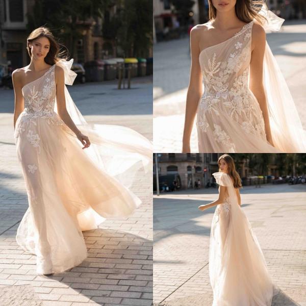 2019 Berta Vestidos de novia bohemios Un hombro de encaje con lentejuelas Apliques Vestido de novia Boho Una línea por encargo vestido de novia Vestidos De Novia