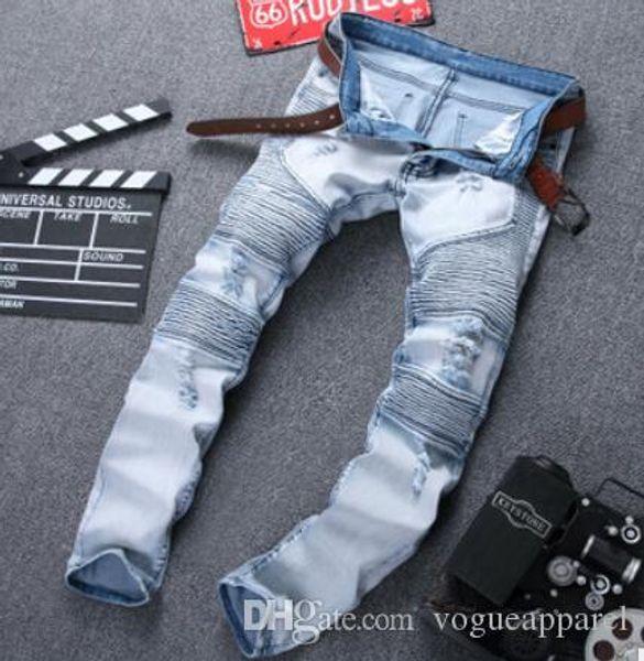 Uomo Street Biker Jeans Fake Designer Brand Abbigliamento Jeans Strappato Holes Hiphop Jean Long Pencil Pants