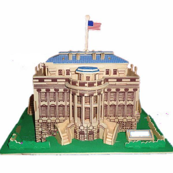 Heißer Verkauf DIY Puzzle kreative handmontierte 3D-Simulation aus Holz American White House Modell Spielzeug Fabrik Großhandel
