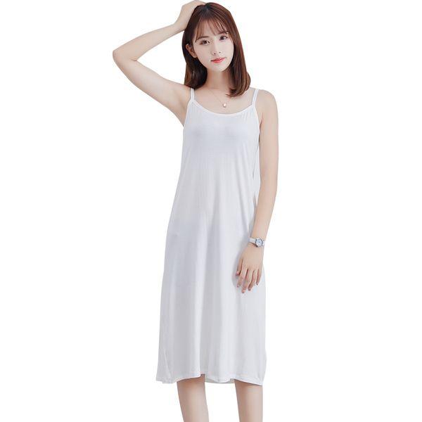 2019 Summer Fashion Women Modal Slip Dress Spaghetti Straps Sleeveless Soft Stretchy Casual Cami Dress Korean Style Girls