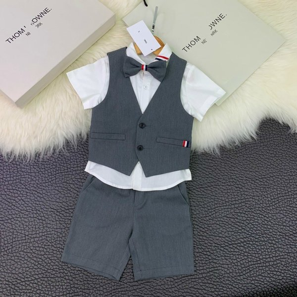 Children's wear boy Suit baby shorts Young child Summer clothing 2019 new products Handsome Wholesale prices Bow tie vest shirt or