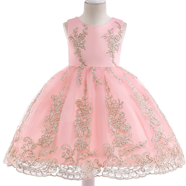 Hot Sell 2018 Summer Girl Dress Princess Wedding Dress Girl Embroidered Applique Birthday Dresses Kids Christmas Party Dresses Y19061501