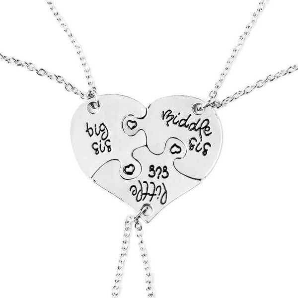 Big Middle Little Sis Heart Pendant Necklace Letter Broken Heart Love Best Sisters Friends Family Jewelry for Women 162116