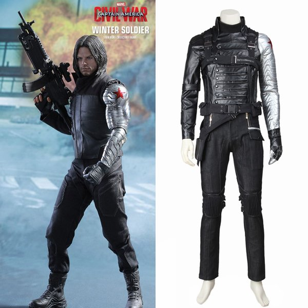 Inter Asker Kaptan Amerika 2 Cosplay James Buchanan Bucky Barnes Kostüm Kostüm Kaban Kıyafet Superhero Cadılar Bayramı Custom Made Kış Asker ...