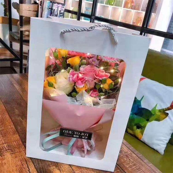 Портативный Цветочный Мешок Прозрачный Дисплей Окно Знаменитости Подарочная Упаковка Коробка Креативная Идея Корзина Цветов Розы Горячий Продавать 2zga p1