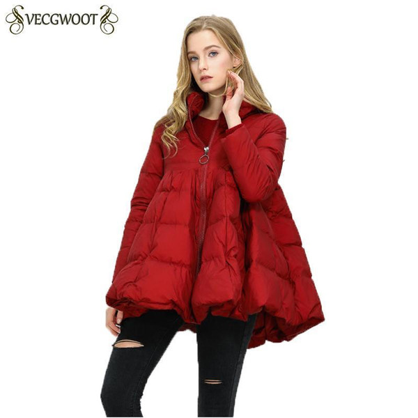 Nice New Winter Pregnant Women Cloak Down Jacket Women Loose Warm Coats Solid Color White Duck Down Jacket Female Outwear Hp282