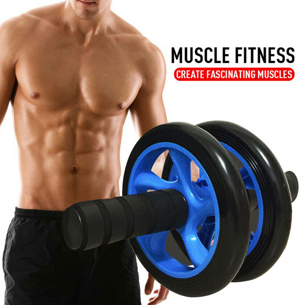 top popular 2019Muscle Exercise Equipment Home Fitness Equipment Double Wheel Abdominal Power Wheel Ab Roller Gym Roller Trainer Training 2021