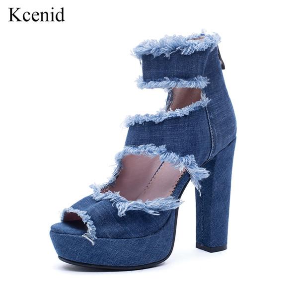 Kcenid 2019 été nouvelle mode bottes en denim bleu découpe 12cm talons hauts plateforme peep toe femmes bottines bottes grande taille 33-43