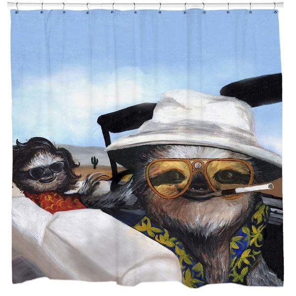 Weird Sloth Shower Curtain Set Psychedelic Movie Poster Western Theme Mancave Bathroom Decor