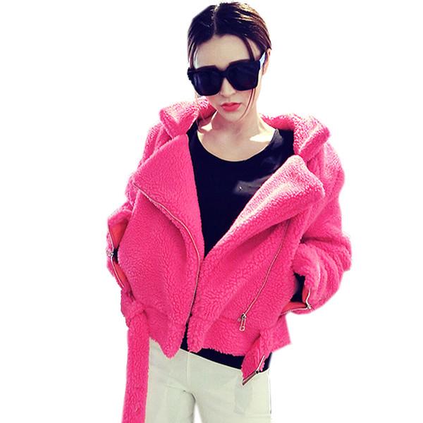 women new winter large size loose long-sleeved short coat large lapel faux fur imitation lamb hair zipper plus cotton coat z70