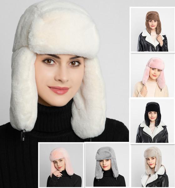 9 renkler Kadın Earcuff Şapka Kış Isınma Earmuff'lar Kalınlaşmak Kulak-flapped Şapka Kadın Faux Kürk Bombacı Şapkalar MMA2953-A1