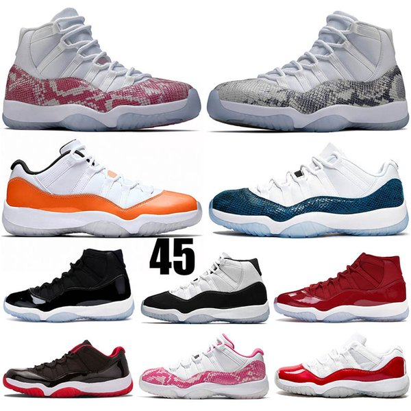 Snakeskin 11 XI Hight Cut Mens Basketball Shoes Concord 11 Low LE Light Bone Pink Orange Trance Space Jam 11s Womens Sport Sneakers