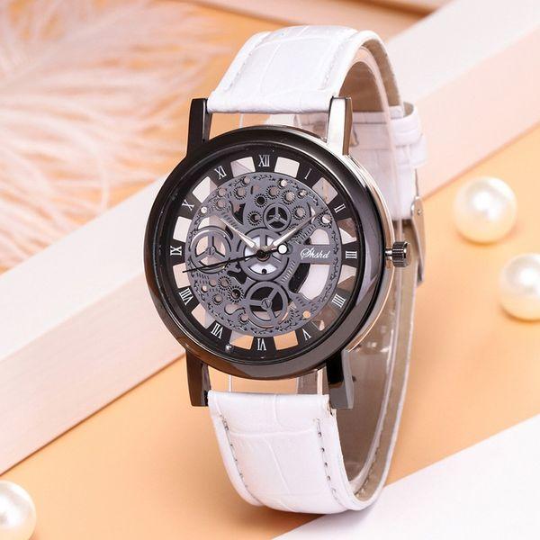 Moda oco correia pu amantes relógio de luxo rodada fácil de ler o relógio não é à prova d'água