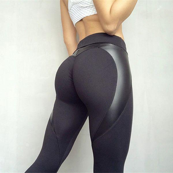 Siyah Kalp Şekli Ganimet Spor Pantolon Kadın PU Deri Patchwork Sıska Pantolon Kadın Leggins Push Up Egzersiz Spor Yoga Tayt