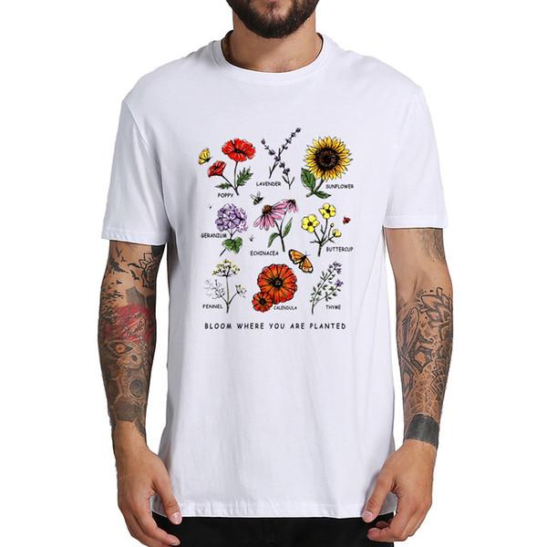 Maglietta Bloom Where You Planted Flower Botanical TShirt Girocollo Morbido 100% cotone T-shirt a manica corta
