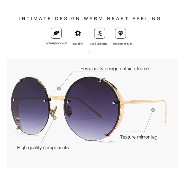 22043 round metal sunglasses 2018 new fashion glasses trend eye protection pc lens many colors frameless popular style summer fashion party, White;black