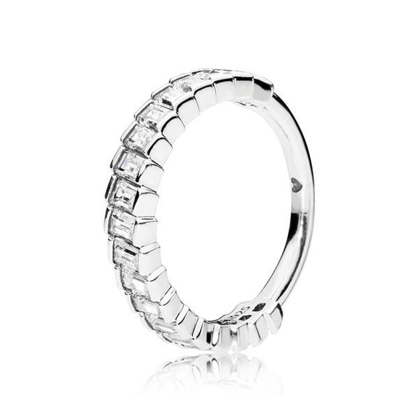 Luxury NEW CZ Diamond glacier Rings Original Box for Pandora 925 Sterling Silver Women Wedding Jewelry Ring Set