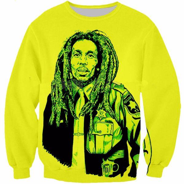 En Yeni Moda Singer Reggae Bob Marley Kazak Erkekler Kadınlar 3D Baskı 3D Komik Uzun Kollu Eşofman Kazak Dış Giyim Casual W60 Tops
