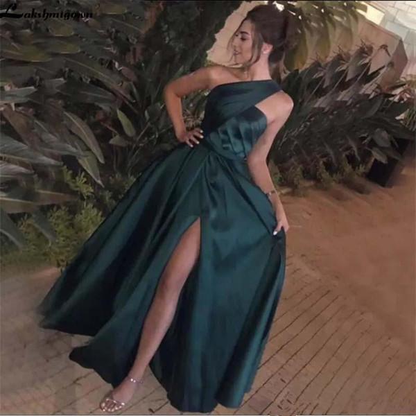 Elegante Abendkleider einer Schulter dunkelgrün Satin Arabisch Sexy Seiten-Schlitz-formale Abend-Frauen-lange Abschlussball-Kleid-Partei Vestidos Q26