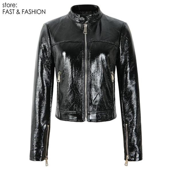 2019 Nueva Otoño Invierno Mujeres PU imitación de cuero de Patentes Chaquetas Señora de manga larga Negro cremalleras Streetwear motocicleta abrigos de abrigo