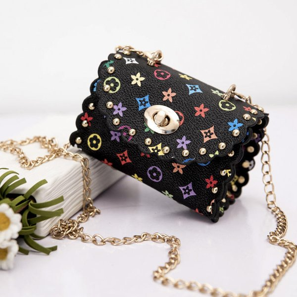 Fashion Kids Handbags Mini Baby Girls Metal Chain PU Leather Messenger Bags Coin Purse Wallet Children Princess Party Bag