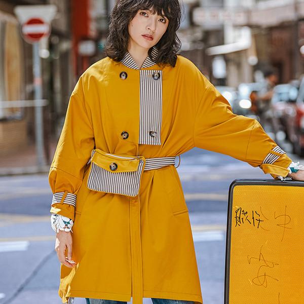 Fashion Waist Pack Design Trench Coat For Women 2019 New Arrival Streetwear Yellow Womens Windbreaker Overcoat Spring Coat Tide