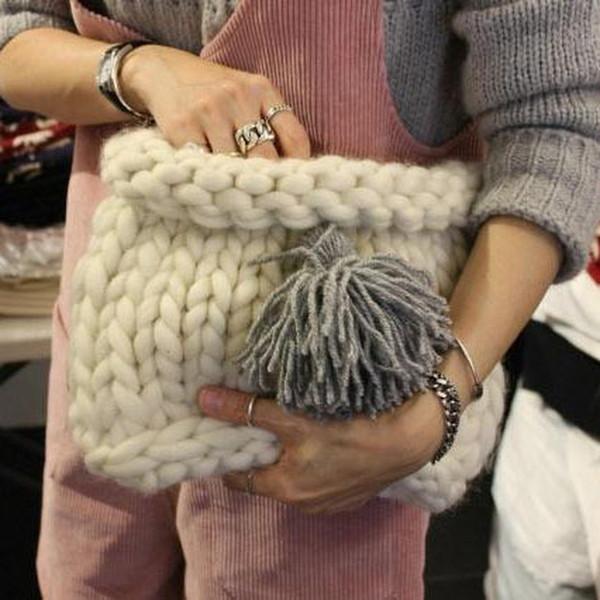 2019 Winter Women Solid Bag Korea New Popular Handmade Knitting Thick Cute Wool Ball Ladies Hand Bag Casual Tote #252447