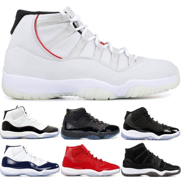 Nike Air Jordan 11 Retro  Scarpe da basket Platinum Tint Concord 45 Cap and Gown PRM Bred Heiress Gym Red Space Jams 11S Uomo Sport Sneakers 5.5-13