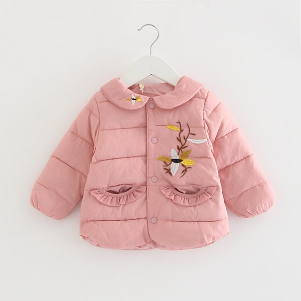 baby coat for winter baby girls cute peter pan collar embroidery princess parkas kids thick outerwear 0-2y