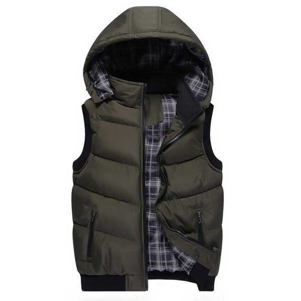 2019 New Stylish Mens Vest Jacket Brand Winter Clothes Vests for Male Cotton Outwear Hooded Sleeveless Vest Man Turn-down Collar