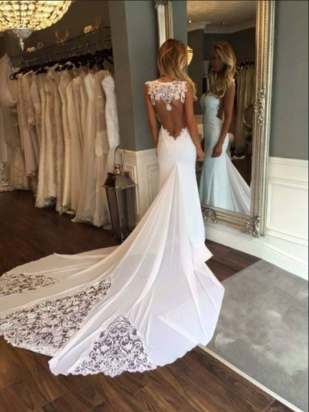 2019 dentelle mousseline de soie plage robes de mariée style sirène pure encolure voir si dos appliques robes de mariée robe de mariée pas cher l'été