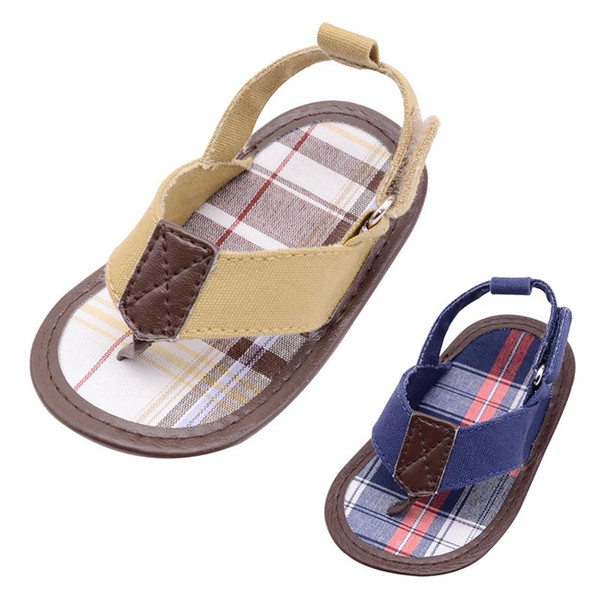 Newest Canvas Baby Shoes Gingham Patch 0-18Month Baby Boy Summer Style Hook&Loop Prewalker Shoes