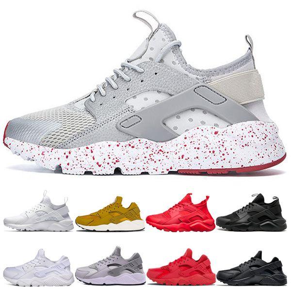 nike air huarache  2019 Huarache Run 1.0 4.0 Stripe cinza com red dot Ultra tênis Running White Gold Trainer Shoes Mens Designer Esporte Tênis
